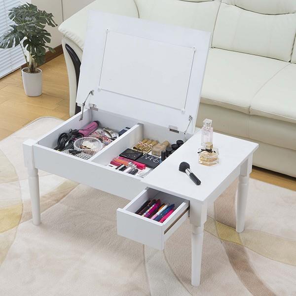 テーブル 幅80cm コスメテーブル ミラー付き コスメ アクセサリー 収納 ドレッサー センターテーブル ( デスク メイク台 化粧台 ローテーブル ) interior-palette 10