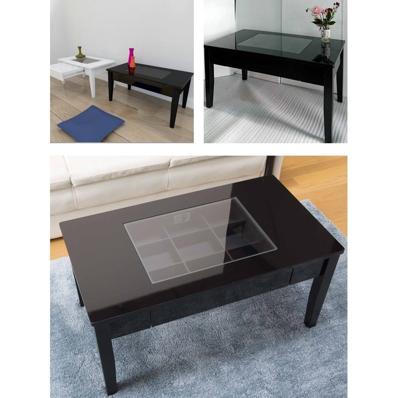 テーブル 幅80cm コレクションテーブル コスメ アクセサリー 収納 センターテーブル ( リビングテーブル ローテーブル 引き出し ディスプレイ ) interior-palette 09