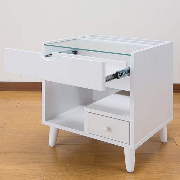 サイドテーブル 幅40cm コスメボックス ガラス天板 コンパクト コスメ アクセサリー 収納 マガジンラック ( テーブル ミニ ドレッサー ソファテーブル )|interior-palette|15