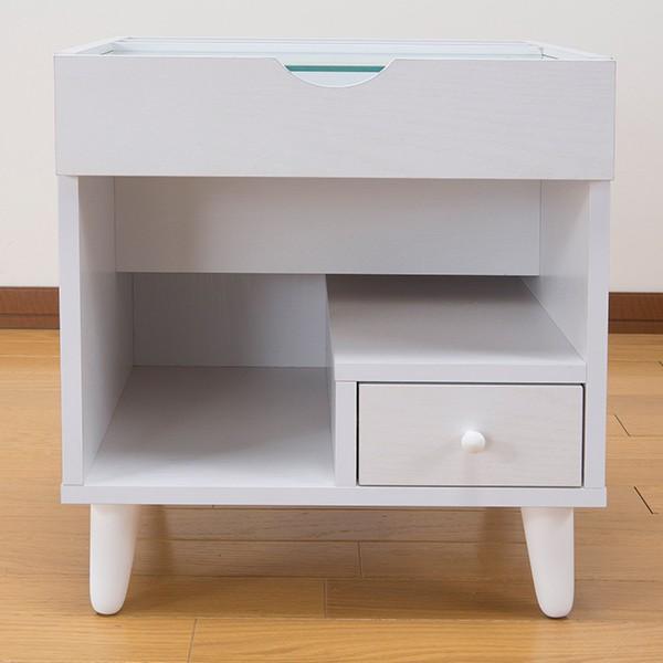 サイドテーブル 幅40cm コスメボックス ガラス天板 コンパクト コスメ アクセサリー 収納 マガジンラック ( テーブル ミニ ドレッサー ソファテーブル )|interior-palette|16