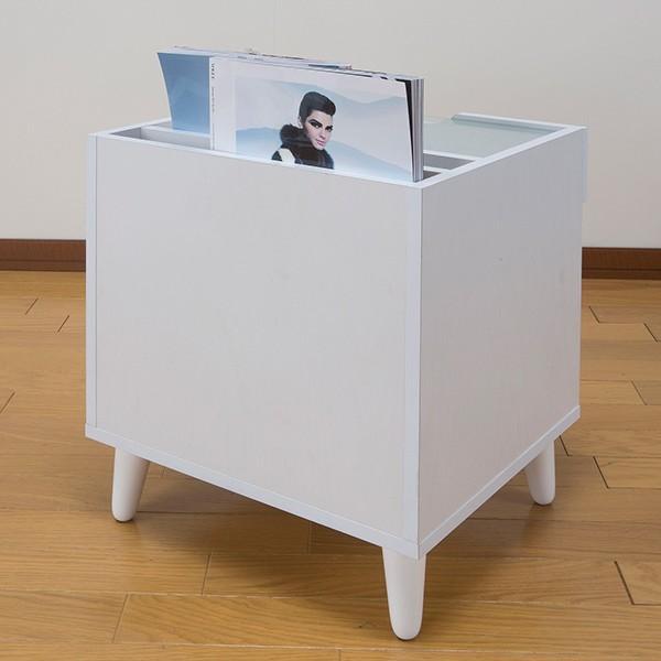 サイドテーブル 幅40cm コスメボックス ガラス天板 コンパクト コスメ アクセサリー 収納 マガジンラック ( テーブル ミニ ドレッサー ソファテーブル )|interior-palette|18