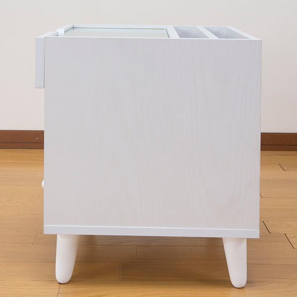 サイドテーブル 幅40cm コスメボックス ガラス天板 コンパクト コスメ アクセサリー 収納 マガジンラック ( テーブル ミニ ドレッサー ソファテーブル )|interior-palette|20