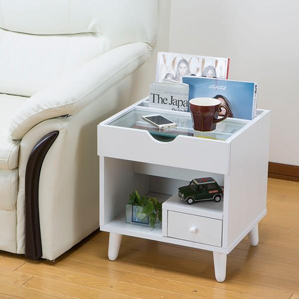 サイドテーブル 幅40cm コスメボックス ガラス天板 コンパクト コスメ アクセサリー 収納 マガジンラック ( テーブル ミニ ドレッサー ソファテーブル )|interior-palette|05
