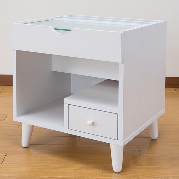 サイドテーブル 幅40cm コスメボックス ガラス天板 コンパクト コスメ アクセサリー 収納 マガジンラック ( テーブル ミニ ドレッサー ソファテーブル )|interior-palette|10