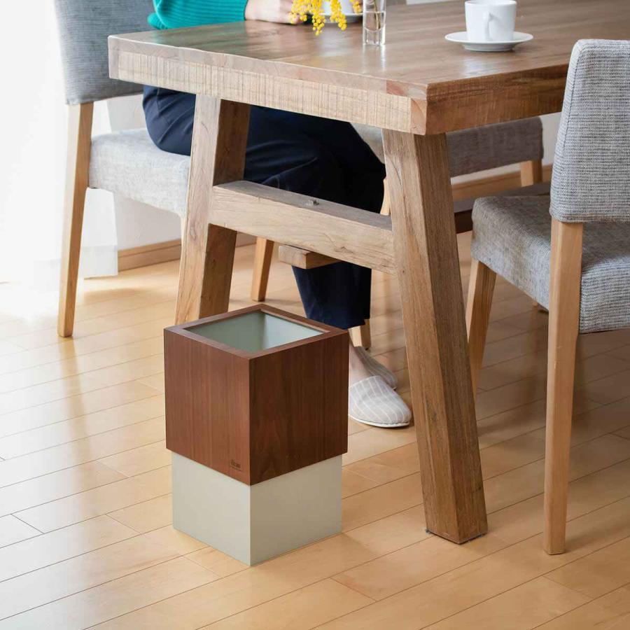 ゴミ箱 木製 10L W CUBE ウォールナット カバー付き おしゃれ くず入れ ダストボックス 日本製 ( ごみ箱 キッチン くずかご くずいれ ) interior-palette 06