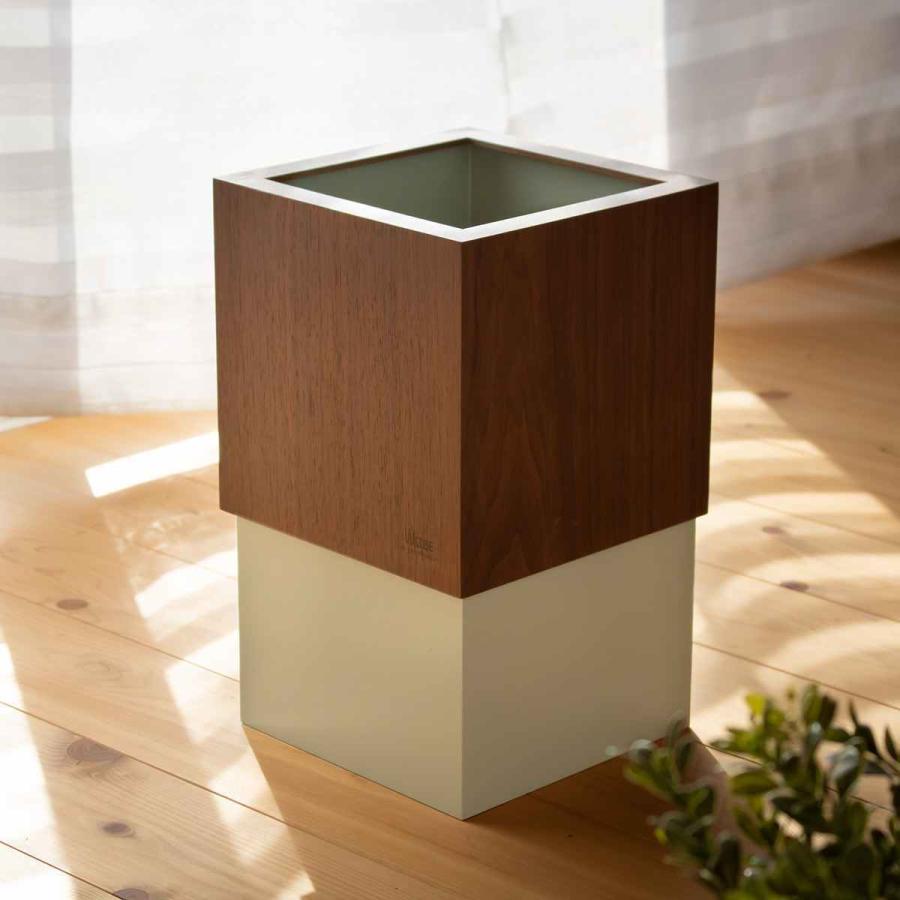 ゴミ箱 木製 10L W CUBE ウォールナット カバー付き おしゃれ くず入れ ダストボックス 日本製 ( ごみ箱 キッチン くずかご くずいれ ) interior-palette 07