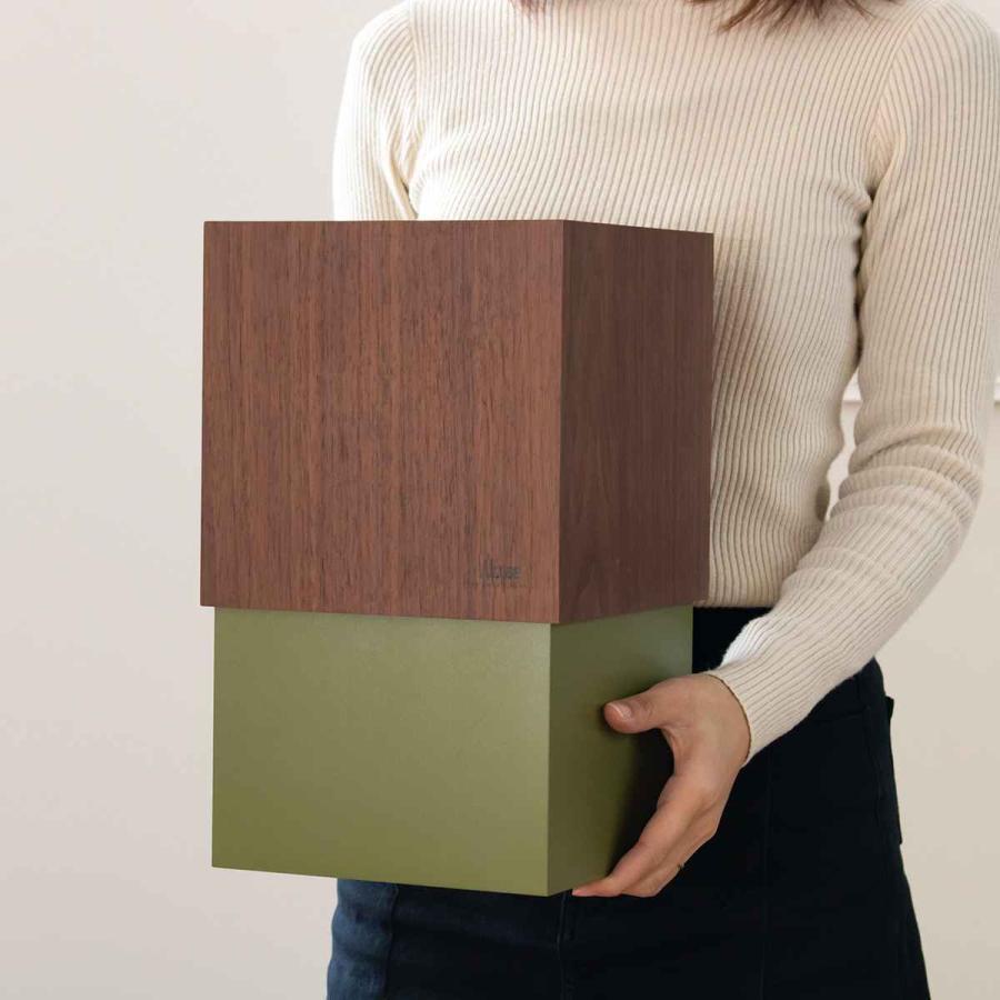 ゴミ箱 木製 10L W CUBE ウォールナット カバー付き おしゃれ くず入れ ダストボックス 日本製 ( ごみ箱 キッチン くずかご くずいれ ) interior-palette 10