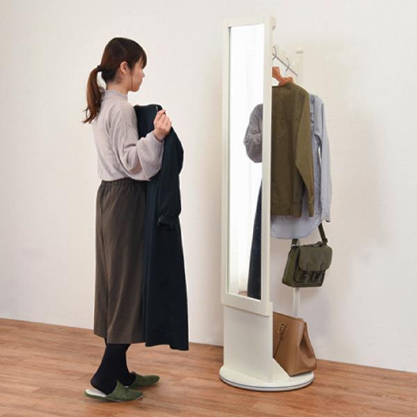 ハンガーラック 回転式 ミラー付 天然木フレーム 幅45cm ( 鏡 ミラー コートハンガー 衣類収納 洋服掛け コート掛け )|interior-palette|07