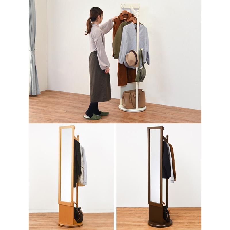 ハンガーラック 回転式 ミラー付 天然木フレーム 幅45cm ( 鏡 ミラー コートハンガー 衣類収納 洋服掛け コート掛け )|interior-palette|08
