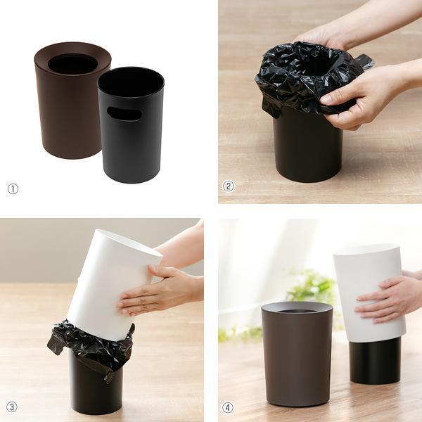 ゴミ箱 2L カバー付き 袋が見えない ごみ箱 ダストボックス 屑入れ 丸型 小さめ 洗面台 卓上 ( ミニ 小さい 丸 スリム フタなし 袋 見えない 2 リットル )|interior-palette|06