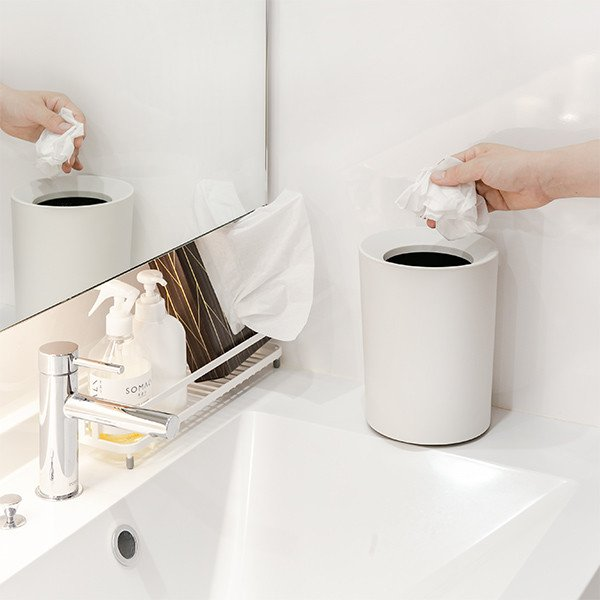 ゴミ箱 2L カバー付き 袋が見えない ごみ箱 ダストボックス 屑入れ 丸型 小さめ 洗面台 卓上 ( ミニ 小さい 丸 スリム フタなし 袋 見えない 2 リットル )|interior-palette|09