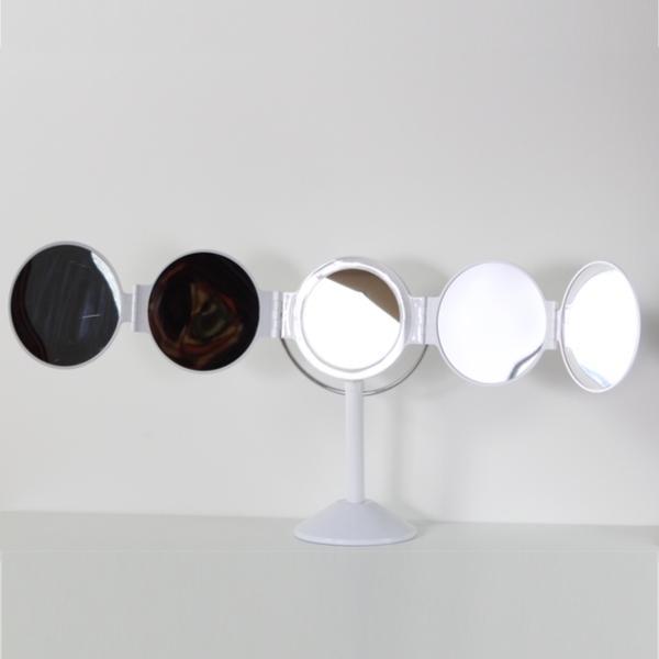 ミラー 五面鏡 ライト付き 鏡 春の新作 LEDライト スタンドミラー メイク 激安通販ショッピング 卓上ミラー 化粧鏡 LED 卓上 コンパクト