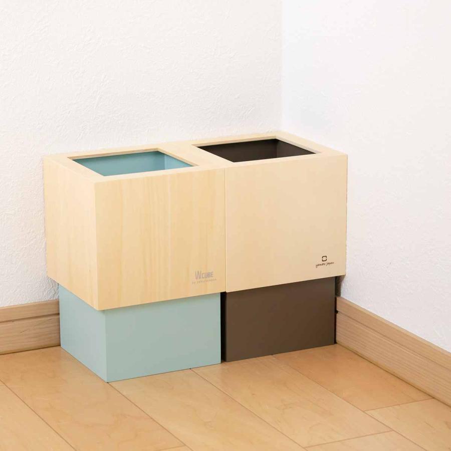 ゴミ箱 木製 4L W CUBE カバー付き おしゃれ くず入れ ダストボックス 日本製 ( ごみ箱 キッチン くずかご くずいれ )|interior-palette|16
