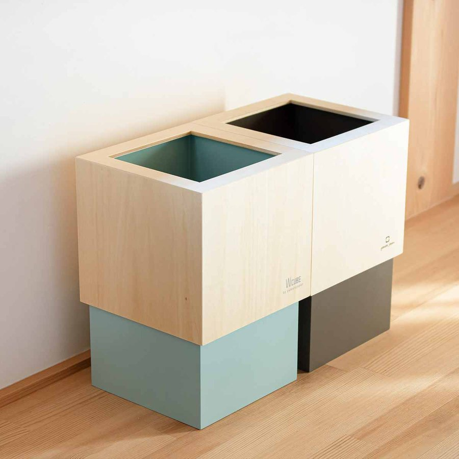 ゴミ箱 木製 4L W CUBE カバー付き おしゃれ くず入れ ダストボックス 日本製 ( ごみ箱 キッチン くずかご くずいれ )|interior-palette|19