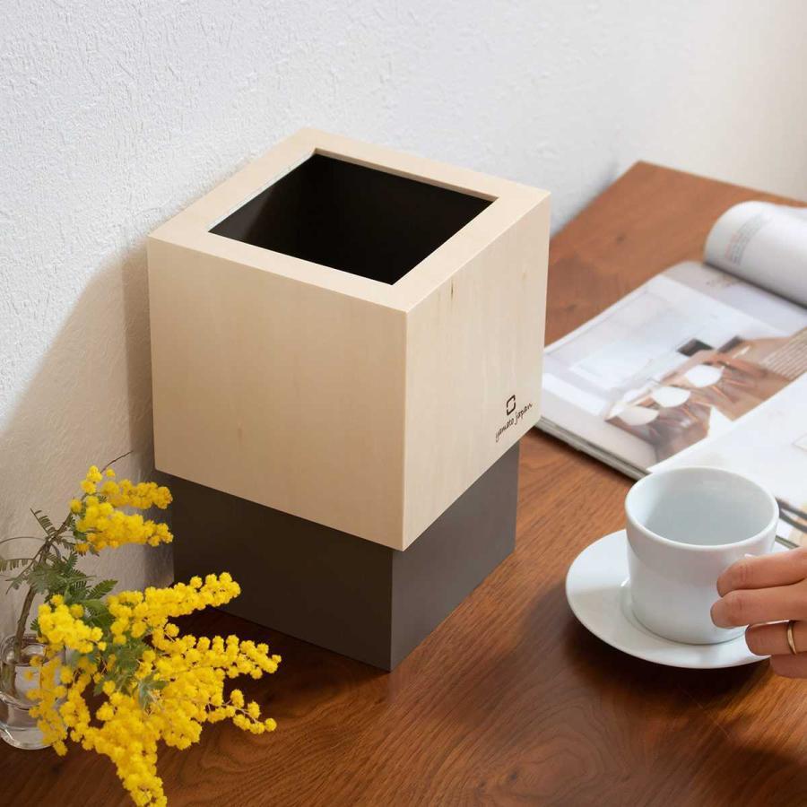 ゴミ箱 木製 4L W CUBE カバー付き おしゃれ くず入れ ダストボックス 日本製 ( ごみ箱 キッチン くずかご くずいれ )|interior-palette|07