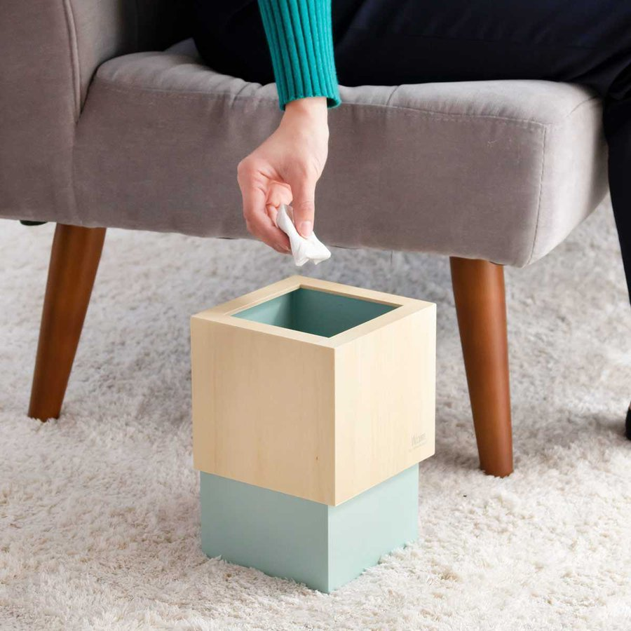 ゴミ箱 木製 4L W CUBE カバー付き おしゃれ くず入れ ダストボックス 日本製 ( ごみ箱 キッチン くずかご くずいれ )|interior-palette|08