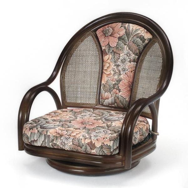 ラウンドチェア ラタン 座椅子 クッション付 ロータイプ 籐家具 座面高19cm
