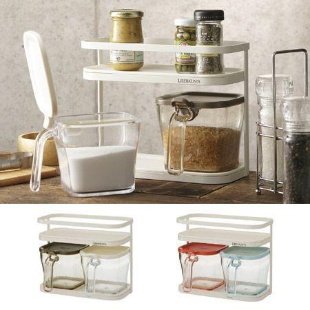 調味料入れ 2個セット スプーン付き リベラリスタ クックポット 調味料ラック ( 調味料ポット 調味料容器 調味料ケース ) interior-palette