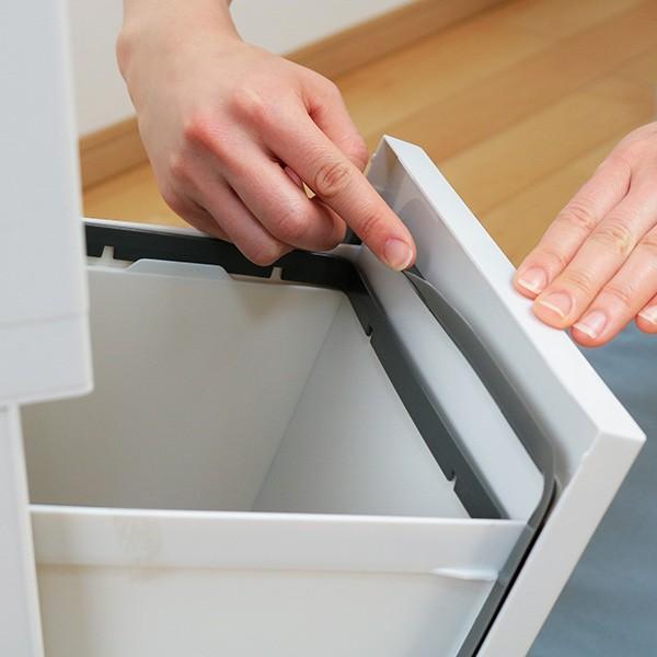 ゴミ箱 分別 2段 スリム パッキン付き 防臭 38L 縦型 分別ゴミ箱 ベーシックカラー ( キッチン 分別 ごみ箱 ふた付き プッシュ ペダル )|interior-palette|17