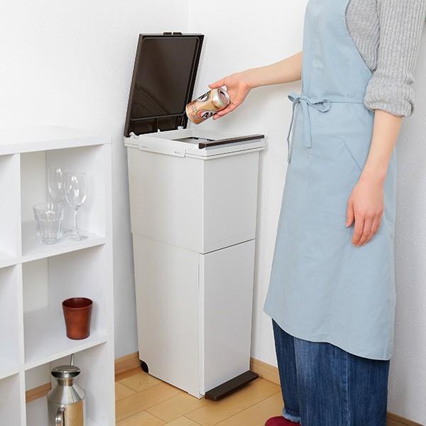 ゴミ箱 分別 2段 スリム パッキン付き 防臭 38L 縦型 分別ゴミ箱 ベーシックカラー ( キッチン 分別 ごみ箱 ふた付き プッシュ ペダル )|interior-palette|07