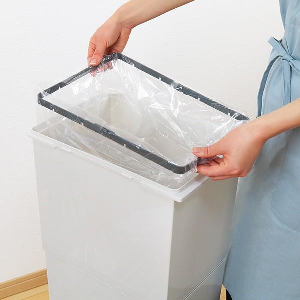 ゴミ箱 分別 2段 スリム パッキン付き 防臭 38L 縦型 分別ゴミ箱 ベーシックカラー ( キッチン 分別 ごみ箱 ふた付き プッシュ ペダル )|interior-palette|10