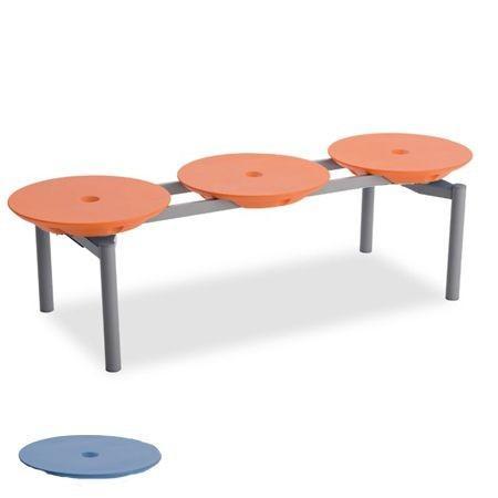 【24時間ポイント5倍】樹脂ベンチ ディスクベンチ 3人掛け 積み重ね収納タイプ カップホルダーなし ( 長椅子 業務用 スタッキング )