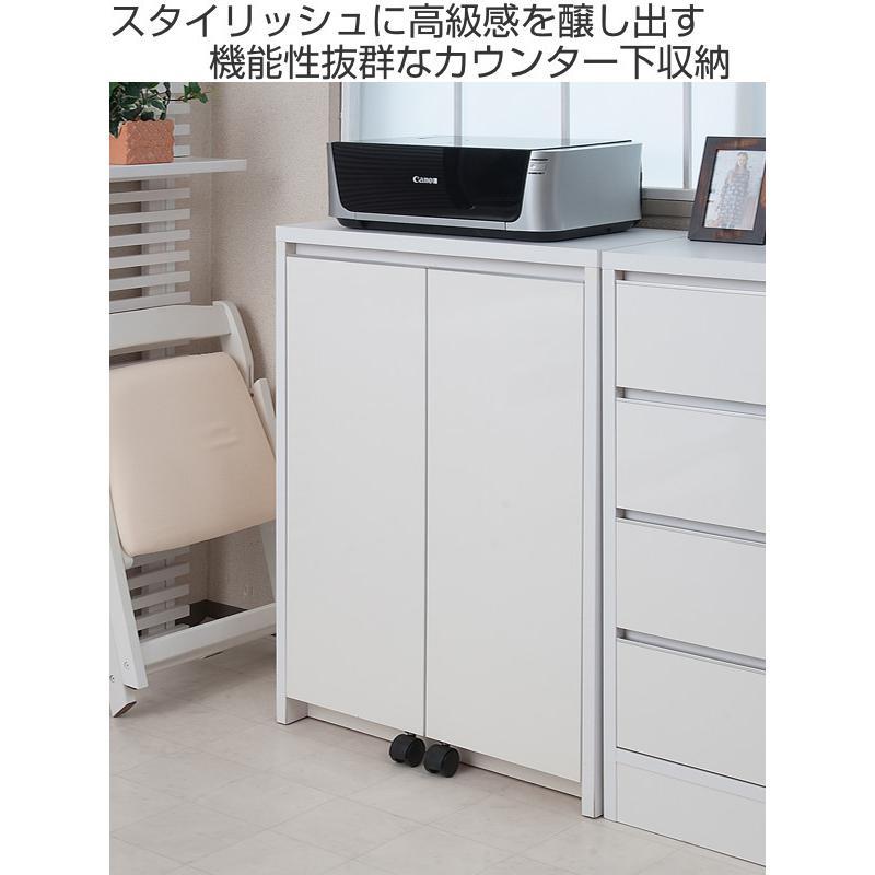 カウンター下収納 キャビネット デスクタイプ キャスター扉 幅60cm ( キッチン収納 リビング 窓下 パソコンデスク ) interior-palette 02
