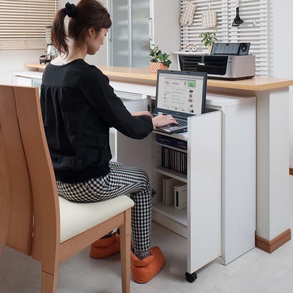 カウンター下収納 キャビネット デスクタイプ キャスター扉 幅60cm ( キッチン収納 リビング 窓下 パソコンデスク ) interior-palette 16