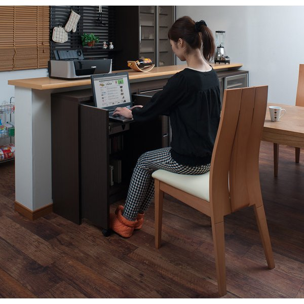 カウンター下収納 キャビネット デスクタイプ キャスター扉 幅60cm ( キッチン収納 リビング 窓下 パソコンデスク ) interior-palette 05