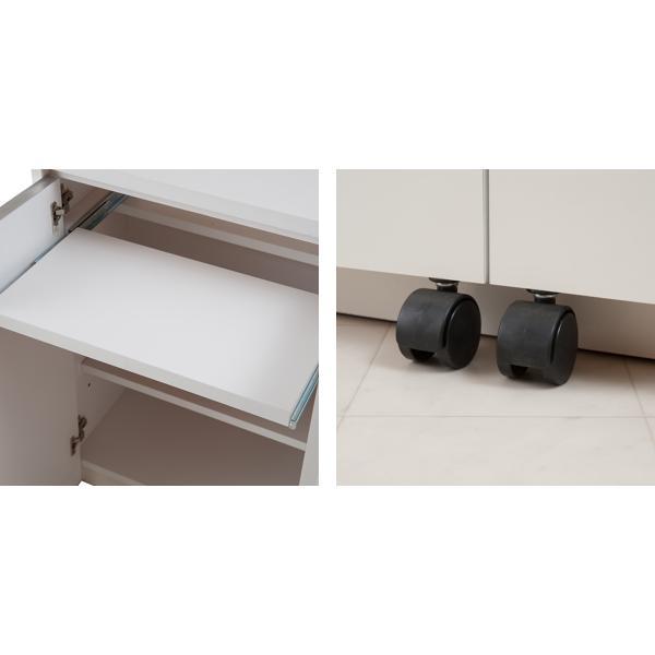 カウンター下収納 キャビネット デスクタイプ キャスター扉 幅60cm ( キッチン収納 リビング 窓下 パソコンデスク ) interior-palette 07