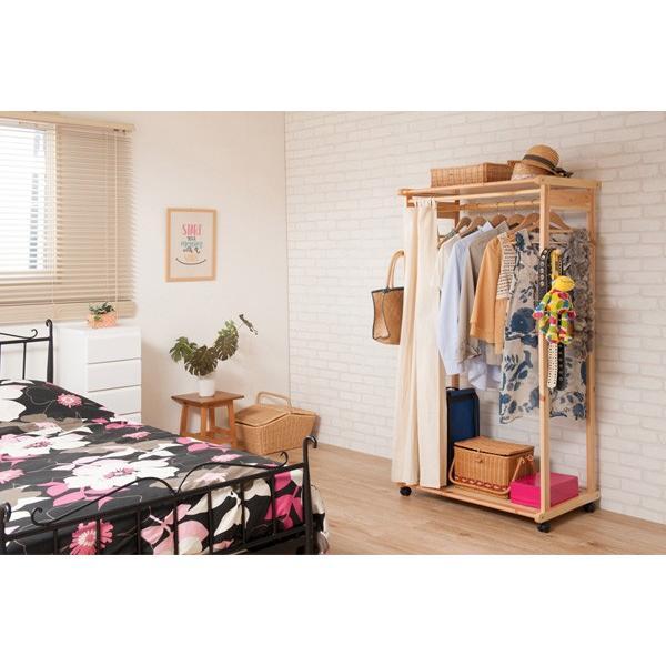 カーテン付ハンガーラック 天然木 幅76cm ( コートハンガー 木製 キャスター付き ) interior-palette 05