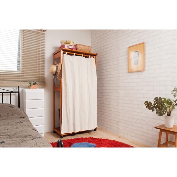 カーテン付ハンガーラック 天然木 幅76cm ( コートハンガー 木製 キャスター付き ) interior-palette 06