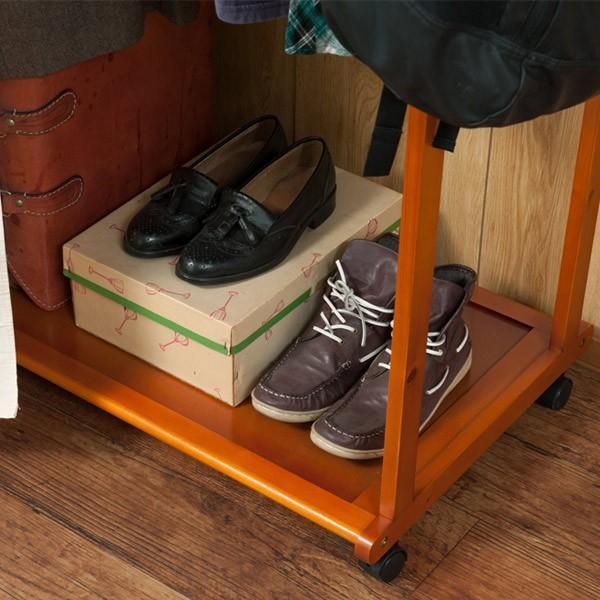 カーテン付ハンガーラック 天然木 幅76cm ( コートハンガー 木製 キャスター付き ) interior-palette 09