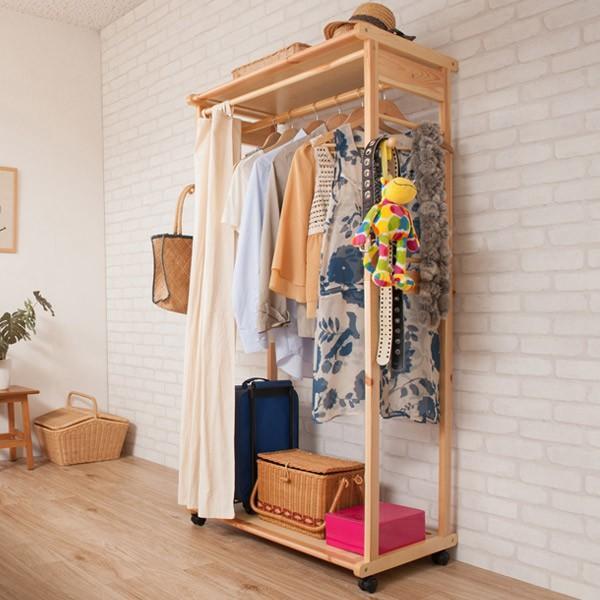 カーテン付ハンガーラック 天然木 幅76cm ( コートハンガー 木製 キャスター付き ) interior-palette 10