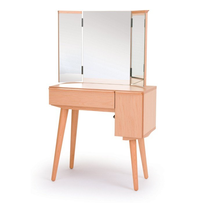 ドレッサー 幅70 三面鏡 姿見 姿見 化粧台 木製 おしゃれ コンパクト ブラックチェリー 完成品 日本製 大川家具