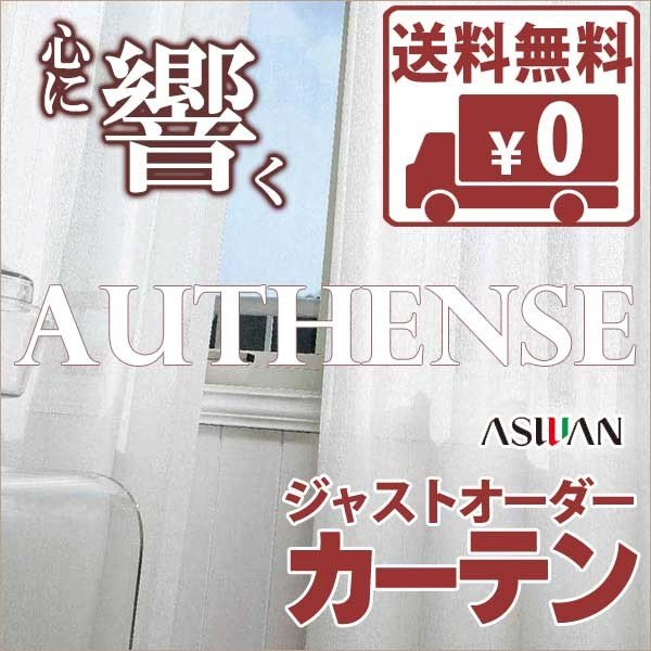 送料無料! カーテン&シェード アスワン オーセンス AUTHENSE 刺繍 E6332 レース ヨコ使い ウエイトテープ縫製 約1.5倍ヒダ レース ヨコ使い