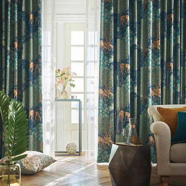 送料無料 川島セルコン 高級オーダーカーテン filo スタンダード縫製 約1.5倍ヒダ Morris Design Studio ケルムスコットツリー FF1001