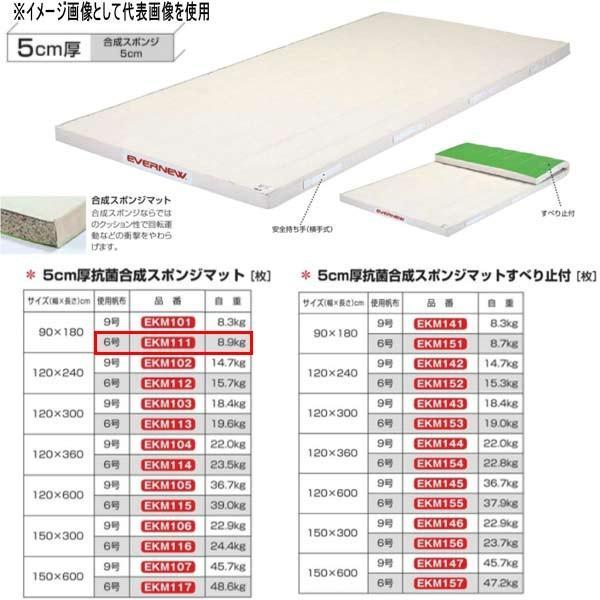エバニュー 5cm厚抗菌合成スポンジマット EKM111 幅90×長180cm 6号帆布