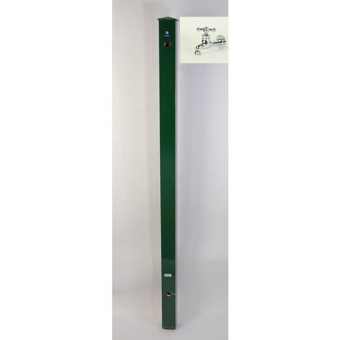 カラーアルミ立水栓ロング蛇口付 ロング蛇口付十字メッキ グリーン GM3-AL307G