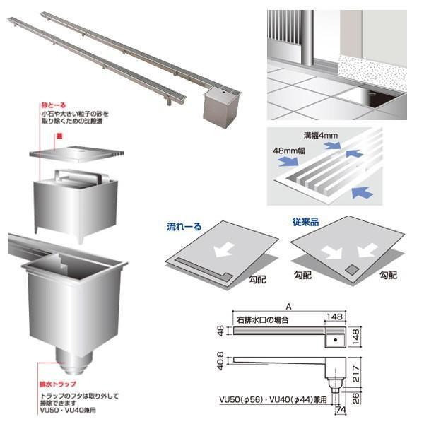 サヌキ 流れーる 玄関用排水ユニット NT59115 排水トラップ付 排水口:右 寸法:148×243×1500mm