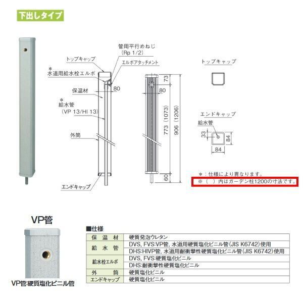 タキロン ガーデン柱80mm角 GDチュー 307291 みかげ 下出しタイプ 型式:DVS-80×1200 10本
