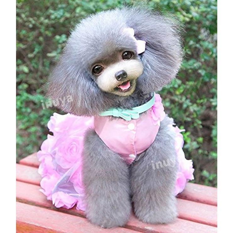 犬服 ワンピース ドレス パール(ピンク パープル)かわいい フリル フリフリ 小型犬 春 夏 女の子 リボン お花 レース 結婚式 パーティー フォーマル inuya 02