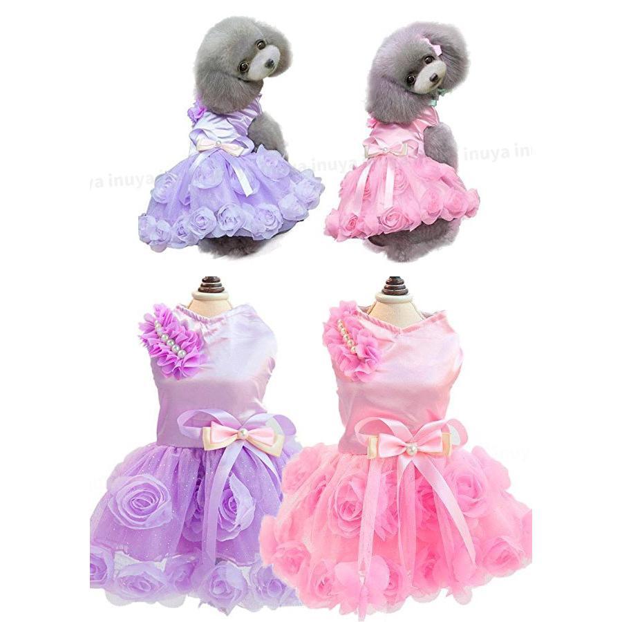 犬服 ワンピース ドレス パール(ピンク パープル)かわいい フリル フリフリ 小型犬 春 夏 女の子 リボン お花 レース 結婚式 パーティー フォーマル inuya 05