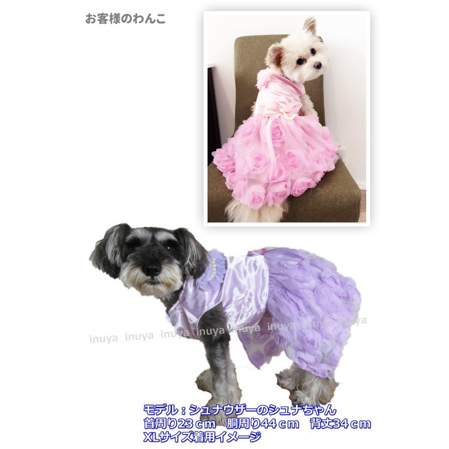 犬服 ワンピース ドレス パール(ピンク パープル)かわいい フリル フリフリ 小型犬 春 夏 女の子 リボン お花 レース 結婚式 パーティー フォーマル inuya 06