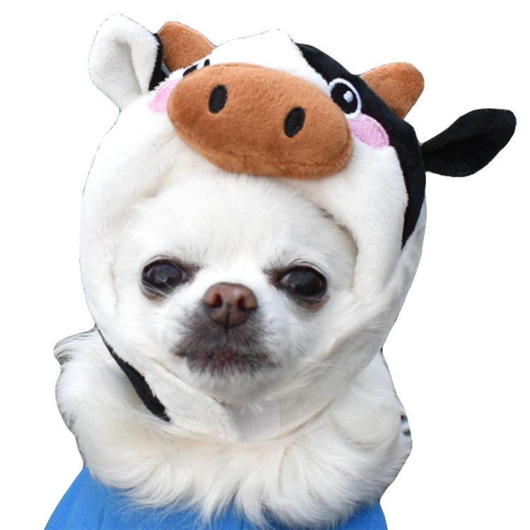 牛 S/M【犬 帽子 キャップ かぶりもの コスプレ 小型犬 うし ウシ】 グッズ 犬屋 チワワ ヨーキー トイプードル マルチーズ ダックスフンド など かぶり帽|inuya