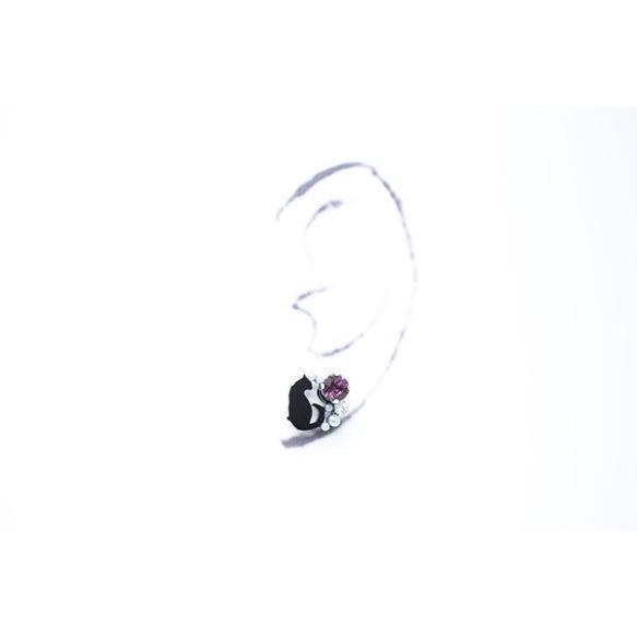 ミニ黒猫 アメジストスワロフスキービジューピアス イヤリング ハンドメイド おしゃれ 猫 グッズ 雑貨 女性 日本製  クリスマス ギフト プレゼント 誕生日 犬屋|inuya|03