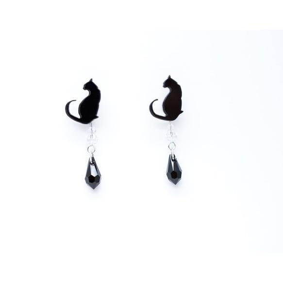 2wayシルエット黒猫の黒ブラックスワロドロップ ピアス/イヤリング ハンドメイド おしゃれ 猫 グッズ 雑貨 女性 日本製  母の日 ギフト プレゼント 誕生日 犬屋|inuya