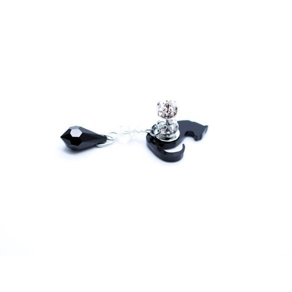 2wayシルエット黒猫の黒ブラックスワロドロップ ピアス/イヤリング ハンドメイド おしゃれ 猫 グッズ 雑貨 女性 日本製  母の日 ギフト プレゼント 誕生日 犬屋|inuya|02