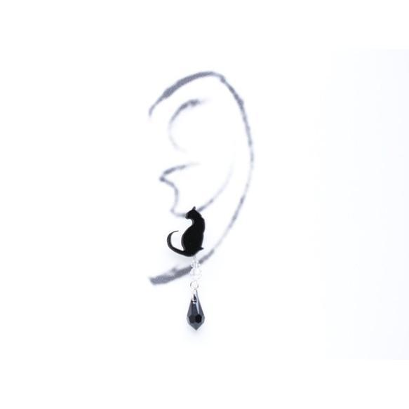 2wayシルエット黒猫の黒ブラックスワロドロップ ピアス/イヤリング ハンドメイド おしゃれ 猫 グッズ 雑貨 女性 日本製  母の日 ギフト プレゼント 誕生日 犬屋|inuya|03