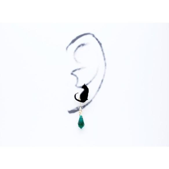 2wayシルエット黒猫の緑グリーンスワロドロップ ピアス/イヤリング ハンドメイド おしゃれ 猫 グッズ 雑貨 女性 日本製  母の日 ギフト プレゼント 誕生日 犬屋|inuya|03
